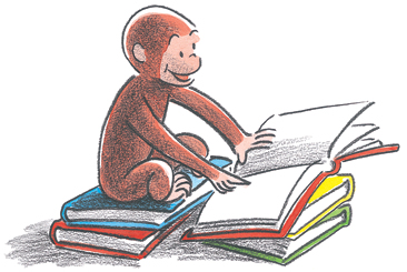 curious george with books